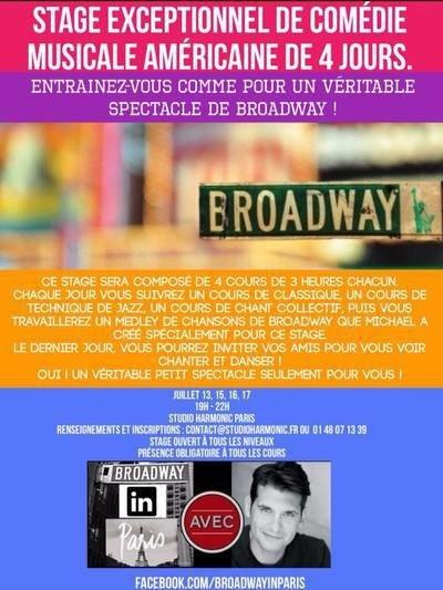Stage de comédie musicale américaine par un professionnel de Broadway ! Musique Live !