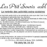 """reprise des activités extra-scolaires aux """"Ptit'Souris' à partir du mercredi 17 septembre 2014"""